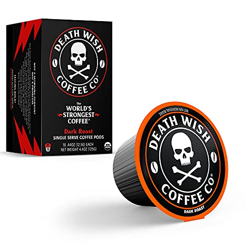 DEATH WISH Death Cups [10 Count] Single Serve Coffee Pods, World's Strongest Coffee, Dark Roast, Capsule Cup, USDA Certified Organic, Fair Trade, Arabica and Robusta Beans