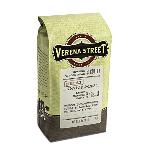Verena Street 2 Pound Whole Bean, Swiss Water Process Decaf Beans, Sunday Drive Decaffeinated, Medium Roast Rainforest Alliance Certified Arabica Coffee