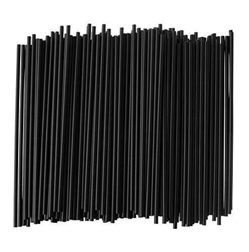 Crystalware, Large Plastic Stir Straw, Sip Stirrer, For Coffee and Cocktail, 8 Inches Long, 500/Box, (Black)
