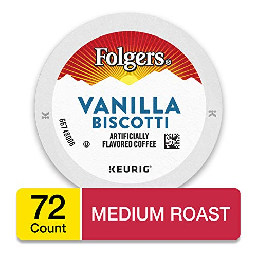 Folgers Vanilla Biscotti Flavored Coffee, K Cup Pods for Keurig Coffee Makers, 72 Count