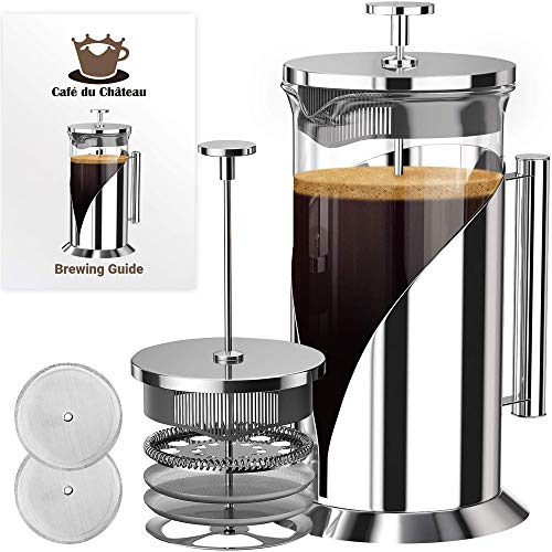 Cafe Du Chateau French Press Coffee Maker - 4 Level Filtration System - 304 Grade Stainless Steel - Heat Resistant Borosilicate Glass Coffee Maker (34 Ounce)