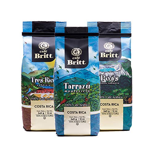 Café Britt - Costa Rican Origins Coffee Bundle (12 oz.) (3-Pack) (Tarrazú, Tres Ríos & Poás) - Whole Bean, Arabica Coffee, Kosher, Gluten Free, Gourmet & Medium Light & Dark Roast (1 Year...