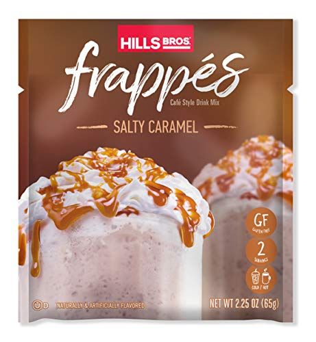 Hills Bros. Frappés, Salty Caramel Drink Mix, 12 Count (2.3 oz Packets) – Gluten Free, Kosher Certified, Easy to Make, Sweet, Creamy & Salty Tasting