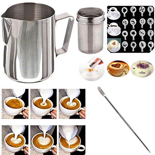 Buytra Stainless Steel Milk Frothing Pitcher 12 oz Coffee Chocolate Shaker Duster Icing Sugar Powder Cocoa Flour Sifter 16 Pieces Cappuccino Barista Coffee Art Stencils Pen