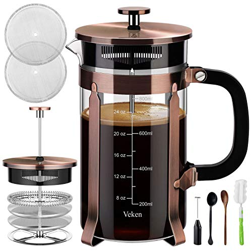Veken French Press Coffee Maker (34 oz), 304 Stainless Steel Coffee Press with 4 Filter Screens, Durable Easy Clean Heat Resistant Borosilicate Glass - 100% BPA Free, Copper