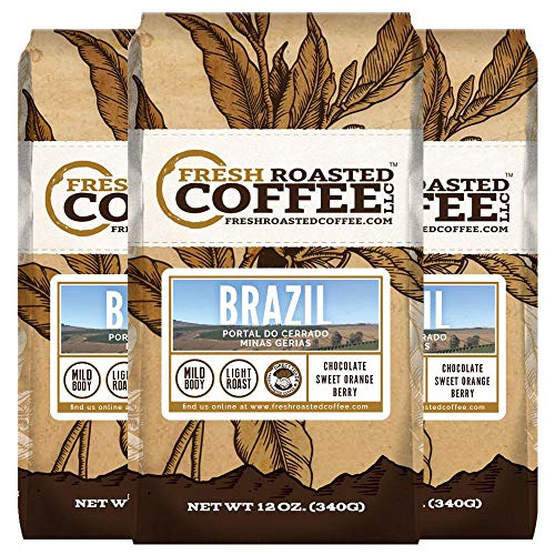 Fresh Roasted Coffee LLC, Brazilian Minas Gerais Coffee, Light Roast, Direct Trade, Ground Coffee, 12 Ounce Bag, 3 Pack