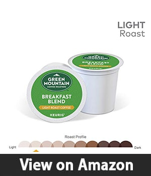 1. Green Mountain Coffee Roasters Breakfast Blend - Single Serve Coffee K-Cup Pod Light Roast 12 Count Pack of 6