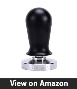 Dailyart Calibrated Espresso Tamper - Coffee Powder Press for Barista, 58mm with flat base, 304 Stainless Steel, Rustproof, Black Ergonomics Handle