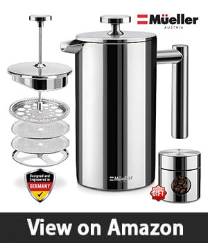 Mueller French Press Double-Wall Stainless Steel Mirror Finish (34oz) 20% Heavier Duty Coffee/Tea Maker: