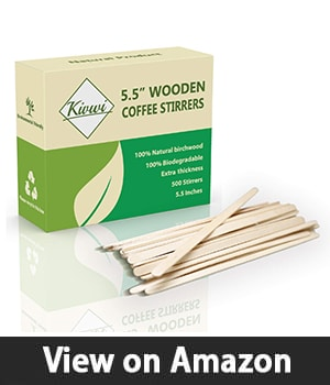 """Coffee Stirrers Sticks, Natural Birch Wood 500 Count, 5.5"""", BPA Free Eco-Friendly Beverage Stirrers (5.5Inches / 500PC)"""