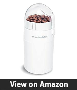 Proctor Silex Fresh Grind 4oz Electric Coffee Grinder for Beans, Spices and More, Retractable Cord, Stainless Steel Blades, White (E160BYR)